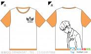 安徽省某高校7班情侣男款简约橙色全身印短袖班服