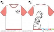 安徽省某高校7班情侣女款简约粉色全身印短袖班服