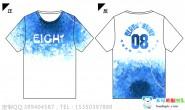 海南省儋州市东坡学校8班小清新蓝色渐变花瓣全身印短袖