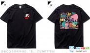 湖南炎陵一中定制的个性潮流创意漫画动物卡通可爱黑色9班短袖班服