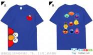 广西南宁市南宁二中芝麻街潮流个性创意2班卡通深蓝色短袖班服