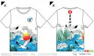 广西省崇左市县仕民实验学校定制的个性海浪鹤中国风全身印霸气1班全身印短袖班服