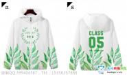 陕西省榆林市实验中学5班小清新绿色叶子大数字风衣外套班服