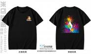 香港新界元朗区定制的简约个性创意炫酷火羽毛球运动体育羽毛球协会水彩泼墨黑色短袖会服
