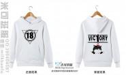广西省玉林市博白县中学定制的个性创意简约炫酷霸气猫卡通潮流闪电18班白色连帽卫衣班服