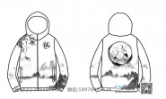 桂林电子科技大学定制的个性创意中国风古风山水画泼墨竹子鹤6班全身印风衣外套班服