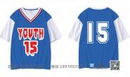 广东省湛江市第三中学15班篮球服潮流个性简约大数字假二件五分袖班服