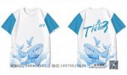 浙江省温州市第六中学定制的个性创意唯美小清新蓝色拼接鱼毕业153班全身印短袖班服