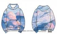 7班星球创意个性唯美水母鲸鱼全身印带帽卫衣班服