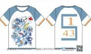 四班全身印浅蓝色动漫卡通可爱短袖班服